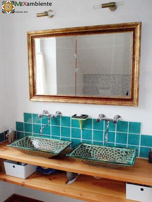 Doppelwaschtisch aus Holz mit dem MEX6 Aufsatzwaschbecken PAVO VERDE + Fliesen 11x11 in Aqua türkis
