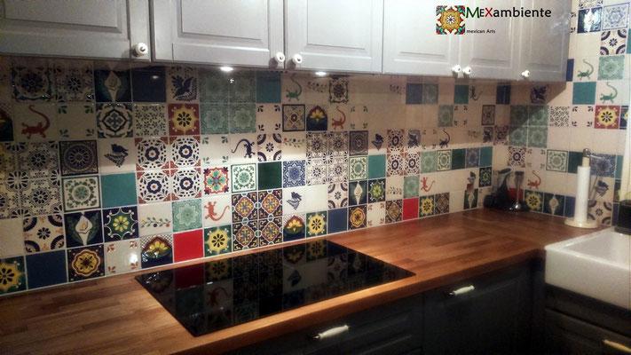 Einzgartige Küche mit Dekorfliesen aus Mexiko 11x11 Premium