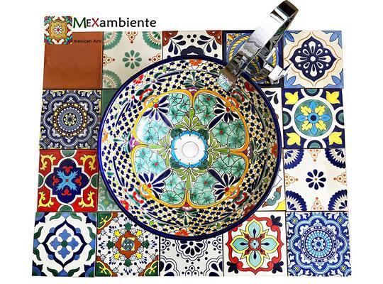 Bunte Fliesen 15x15 und Waschschale Caribe aus Mexiko von Mexambiente