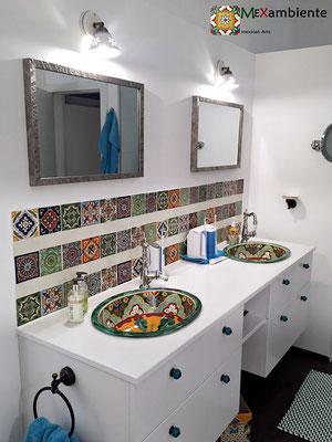 Mexambiente Einbauwaschbecken VERANO + Dekorfliesen 11x11 cm