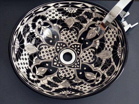 Designer-Designer-Waschbecken oval SANTIAGO in Schwarz-weiß oval SANTIAGO in Schwarz-Perlweiss