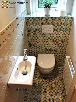 Gäste WC mit Premium Mexambiente Dekorfliesen 11x11