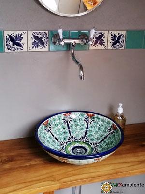 Runde Waschschale MEX5 Pasion ca. 44 cm Durchmesser + Bordüre mit 11x11 cm Fliesen