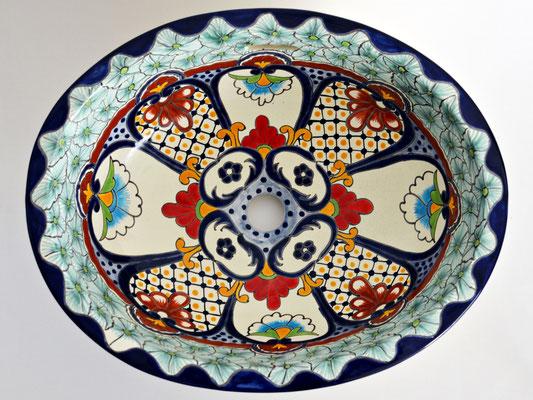 Cancun - Mexikanisches Einbauwaschbecken mit floralem Muster