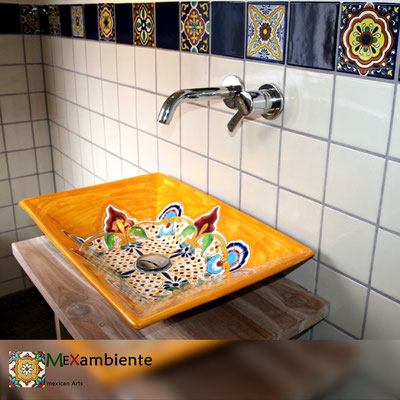 Rechteckiges Waschbecken MEX6 Puebla & Fliesen im Format 11x11 von Mexambiente