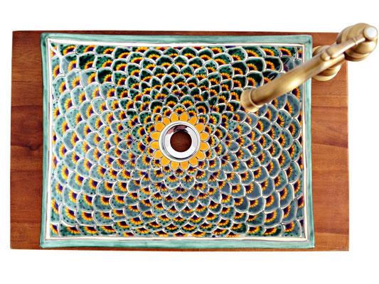 Wunderbarer Waschtisch aus Mexiko mit exotischem Design PAVO VERDE, eckig