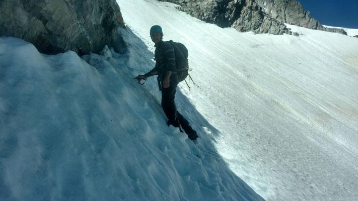 Nach dem Umkehren - immer noch im steilen Schnee