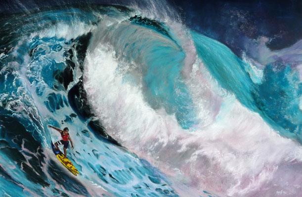 """Surfin´Hookipa"" Pastell, 40x60cm, (C)D.Saul 2015 (Ref.Foto by Jimmy hepp,Maui"