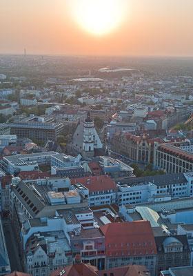 Leipzig mit Blick vom City Hochhaus Richtung Thomaskirche © Dirk Brzoska