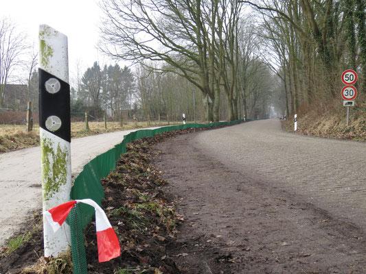 Das erste Teilstück des Krötenzauns im Moorhauser Weg steht