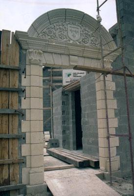 L'entrée dans le bâtiment d'accueil