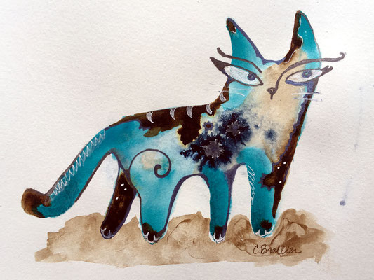 """Little Cat 2 - 5x7"""", acrylic inks on paper - available, please contact me for details"""