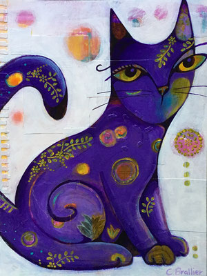 "Purple Cat - 9x12"", acrylics, acrylic inks on paper - sold"