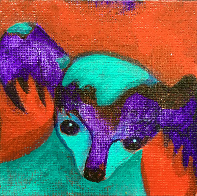 "Painted magnet - 2 1/2"", acrylics - sold"