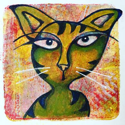 "Untitled - 3x3"", gel print, acrylics - sold"