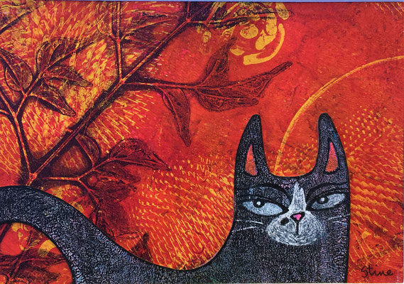 """Black Cat - 5x7"""", gel print, acrylics, pen - available in my Etsy store"""