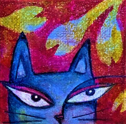 "Untitled - 2 1/2 x 2 1/2"", gel print, acrylics - sold"