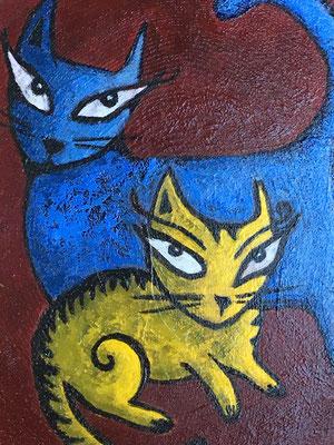 "Yellow Cat, Blue Cat - 5"", acrylics on sassafras wood - sold"