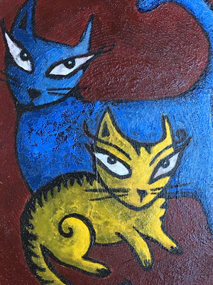 "Yellow Cat, Blue Cat - 5"", acrylics on sassafras wood - sold"