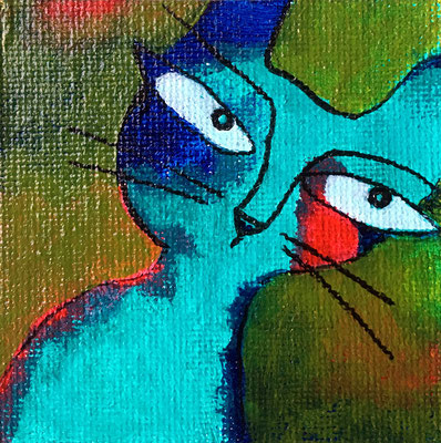 """Painted magnet - 2 1/2"""", acrylics - sold"""