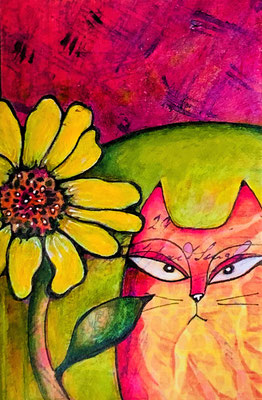 "Cat and Flower - 3x4.5"", acrylics - sold"