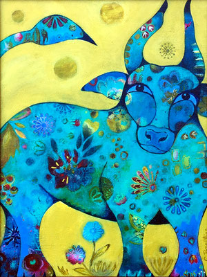 """Divine Bovine - 12x16"""", acrylics, framed - available, please contact me for details"""