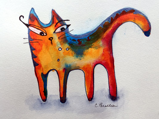 """Little Cat 1 - 5x7"""", acrylic inks on paper - available, please contact me for details"""