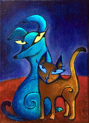 """Cat and Dog - 5x7"""", acrylics on canvas - available, please contact me for details"""