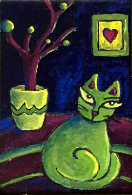 "Cat and Flower Pot - 3 1/2 x 5 3/4"", acrylics on canvas board - available, please contact me for details"