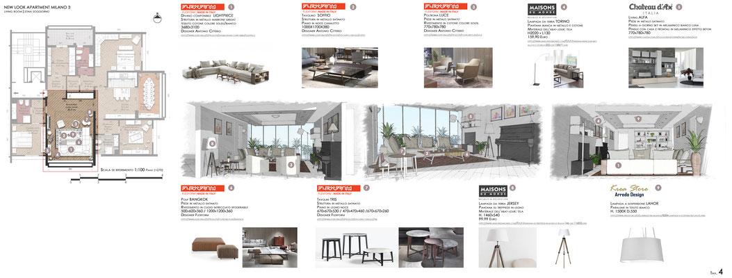 Schema arredo Living Room - © F. Perissi