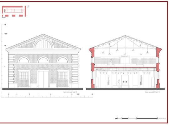 Proposta progettuale di ripristino - Prospetto e sezione - © A. Pea, R. Porreca, L. Sepe