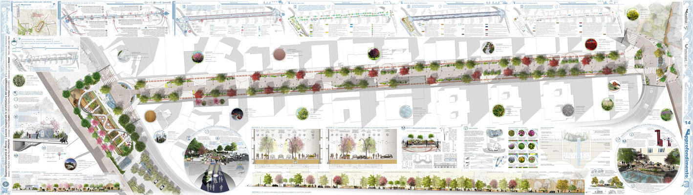 Approfondimento 04 - Connessione tra piazza attrezzata di risalita dal Parco sotterraneo e viadotto del Gelsomino, Progetto Arch. Paes. Marina Cicalini - © F. Perissi, M. Cicalini