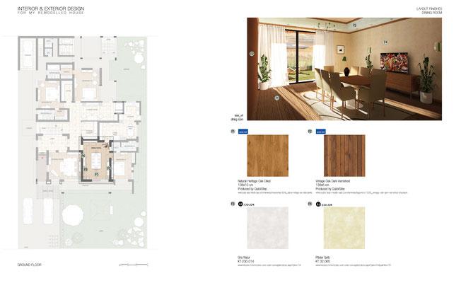 Schema rifiniture interne Dining Room - © A. Pea