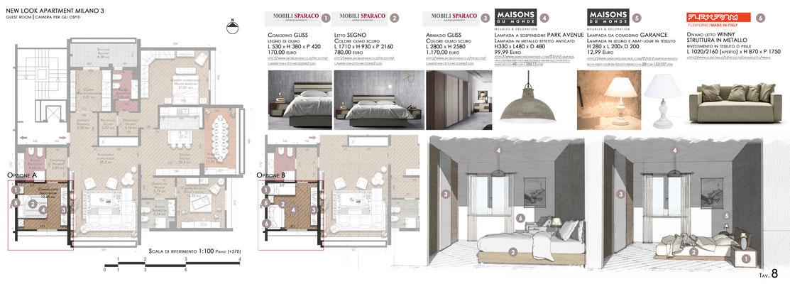 Schema arredo Guest Room - © F. Perissi