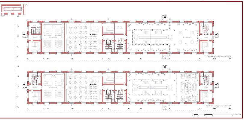Proposta progettuale di ripristino - Pianta piano terra - © A. Pea, R. Porreca, L. Sepe