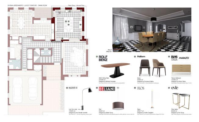 Schema Arredo Dining Room - © A. Pea