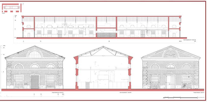 Rilievo architettonico - Prospetto e Sezione - © A. Pea, R. Porreca, L. Sepe