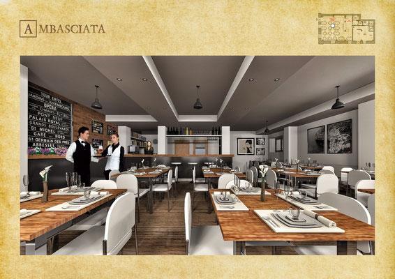 Sala Restaurant Ambasciata - © R. Aleotti, A. Pea, T. Tamborriello