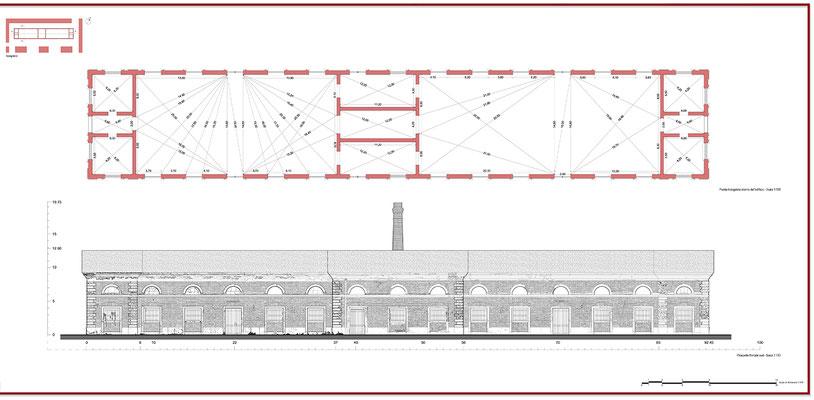 Rilievo architettonico - Prospetto Frontale - © A. Pea, R. Porreca, L. Sepe
