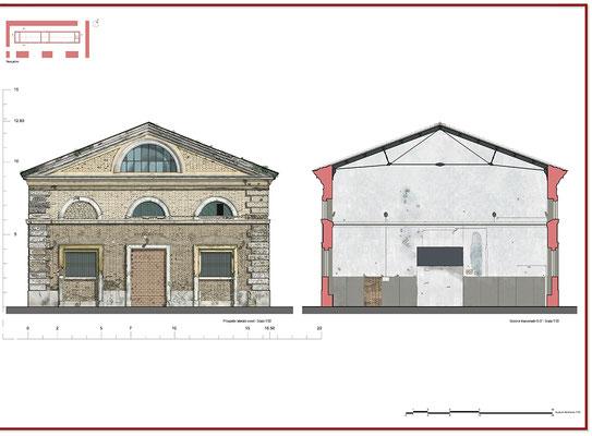Rilievo architettonico - Prospetto laterale - © A. Pea, R. Porreca, L. Sepe