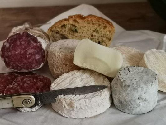 Verschiedene Käsesorten und Salami aus Bergdörfern, Gemüsebrot