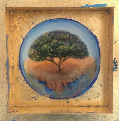 Pequeños Paraísos. El Limonero. Tierra. Óleo y pan de oro sobre madera. 20X20cm.