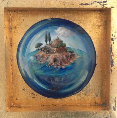 Pequeños Paraísos. la Isla. Agua. Óleo y pan de oro sobre madera. 20X20cm.