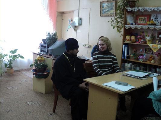 Во время встречи с протоиреем Петром Барановским