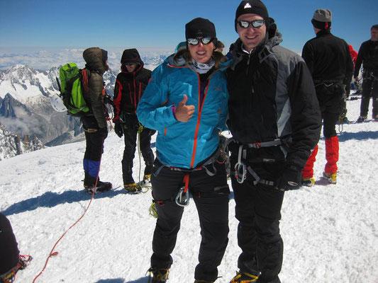 Auf dem Gipfel des Mont Blanc (4810 m)