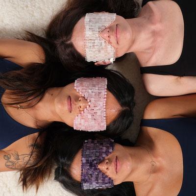 Edelstein Augenmaske Amethyst, Rosenquarz und Bergkristall