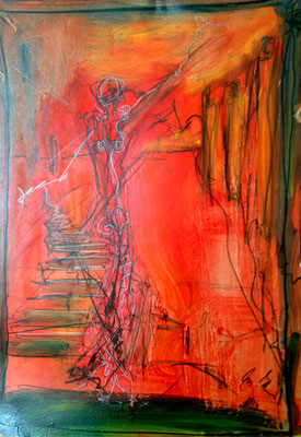 follow me, oil on paper 42 cm x 29,7