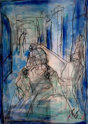streetlife, oil on paper, 42 cm x 29,7 cm