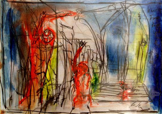 rebel,  oil on paper, 29,7 cm x42 cm