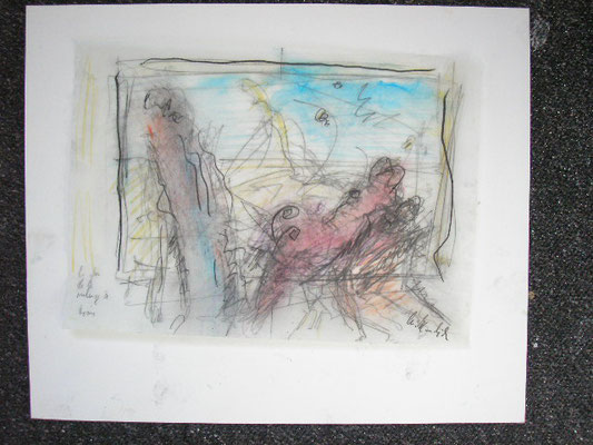 in the year 1955...,oil on paper,  21,0 cm x 29,7 cm